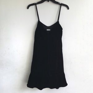 NEW REFORMATION Polly Black Velvet Dress Front Tie